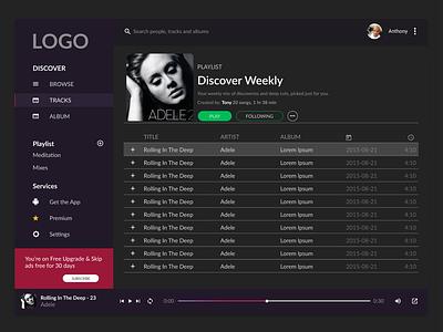 Music Streaming App design ux design web design