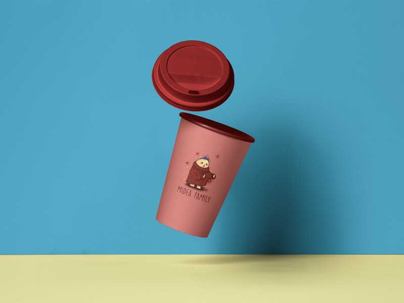 Coffee Cup Package Mockup - Midea Family: Autumn package mockup package design package art graphic  design adobe photoshop illustration design