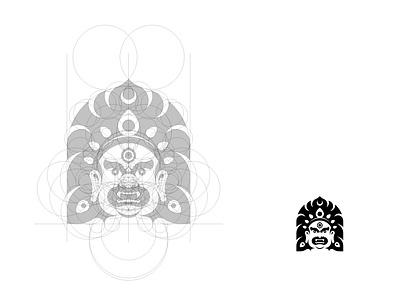 Bhairava graphic design traditional nepal god