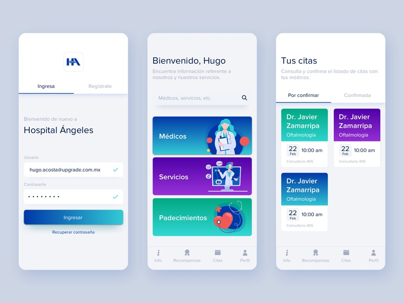 Hospital Ángeles | App medical hospital app concept design ux ui