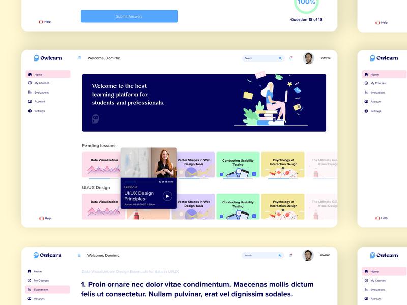 Owlearn | Platform logo logotipo identity ui ux design platform web design user experience user interface ui design ui  ux online courses