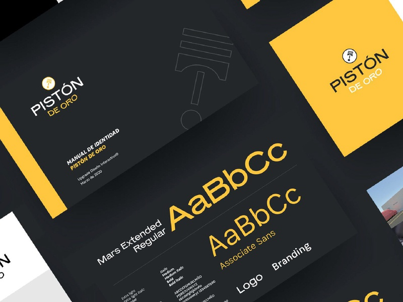Pistón de Oro | Branding (2) car service mockup identidad logotipo identity logo branding design