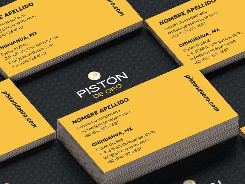 Pistón de Oro | Branding (3) business card mockup identidad logotipo identity logo branding design