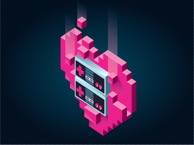 """""""You'll Always Be My Player Two"""" 3d voxel pixel isometric nintendo lover heart 8bit nes controller illustration"""