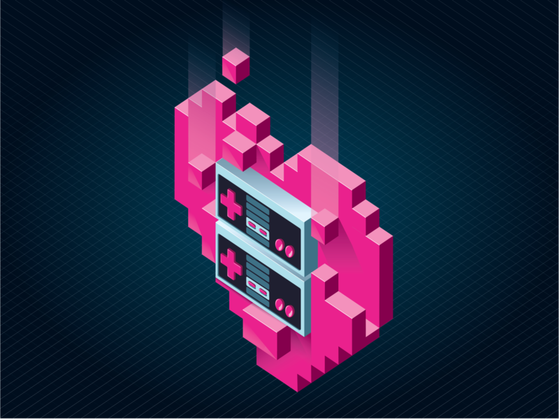 """You'll Always Be My Player Two"" 3d voxel pixel isometric nintendo lover heart 8bit nes controller illustration"