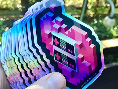 Holographic 8-Bit Retro Gamer Stickers heart controller neon holographic branding design vector illustration gamer nintendo 8-bit retro stickermule