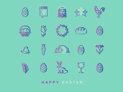 Happy Easter Icons logo icon design illustration vector branding christian cross jesus easter symbols icons