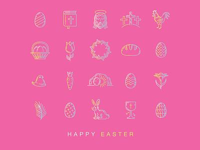 Happy Easter Icons 2 design ux ui illustration vector icon logo branding symbols christian jesus easter icons