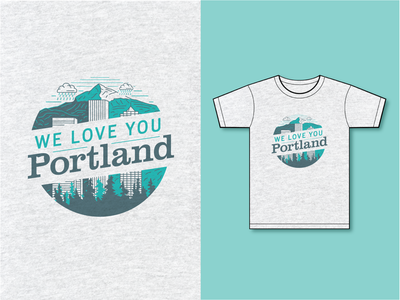 Portland Gear Tee Design Entry logos typography branding vector packaging oregon pnw mountains cityscape pdx portland illustration t shirts
