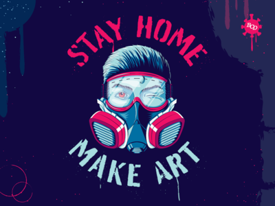 Stay Home. Make Art. face mask illustration lettering type stencil art spray paint