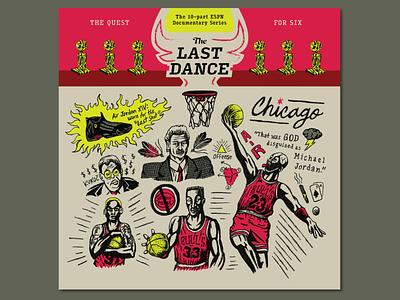 'The Last Dance' Tribute hand lettering handdrawn icon type 90s nba goat chicago bulls dennis rodman scottie pippen michael jordan lettering design drawing typography branding illustration