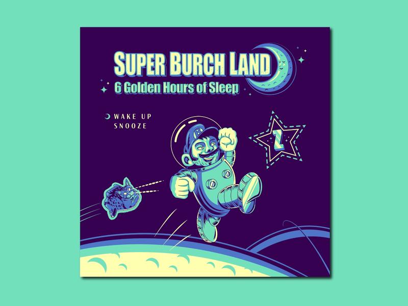 Super Mario Land 2 Tribute/Parody typography drawing vector illustration branding video games gameboy tribute moon space mario nintendo