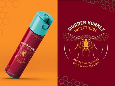 Murder Hornet Insecticide vector type design logo typography illustration packaging branding murder hornet hornets hive honeycomb bees insects