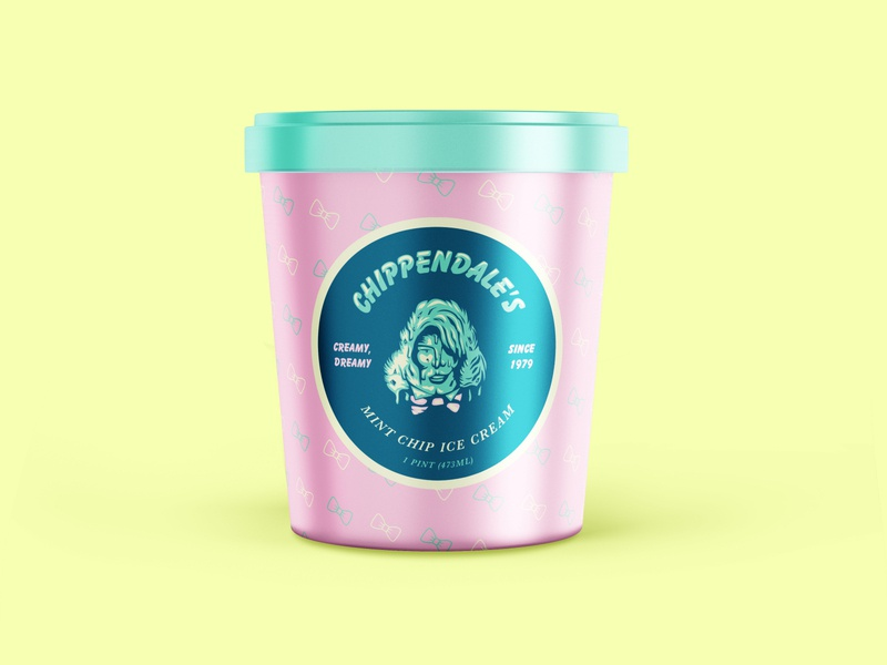 Chippendale's Mint Chip Ice Cream packaging mint ice cream design logo drawing vector branding illustration