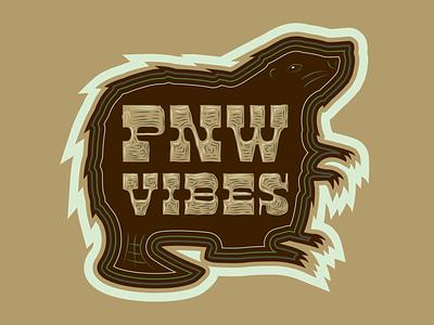 PNW Vibes Beaver Sticker wood type pnw oregon beavers type design logo typography drawing vector branding illustration