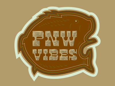 PNW Vibes -- Largemouth Bass Sticker wood type silhouette fish bass typography logo drawing vector branding illustration