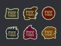 PNW Vibes -- Sticker Set symbol abstract bear oregonian trees beaver sticker wood type wildlife oregon pnw design logo typography drawing vector branding illustration