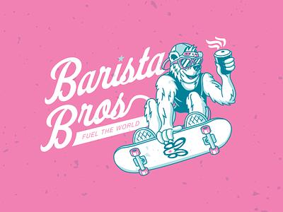 Barista Bros Branding Package logos lettering type design logo typography drawing vector branding illustration