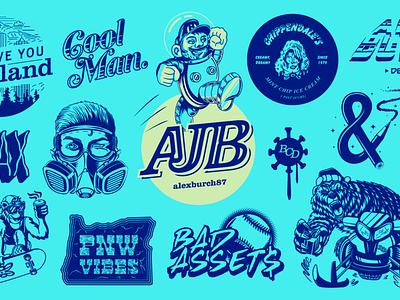 Flashsheet of Work 2018-2020 (3 slides) logos lettering type design logo typography drawing vector branding illustration