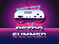 Retro Summer nintendo snes metallic lettering type design logo typography drawing vector branding illustration