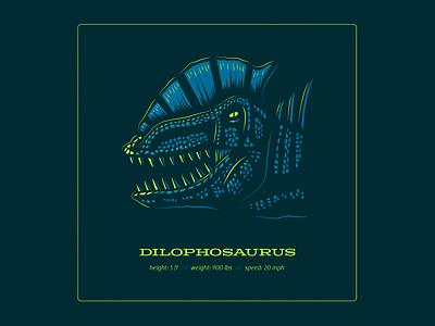 Dino Series: Taco Head dinosaurs dilophosaurus dinosaur design typography drawing vector branding illustration