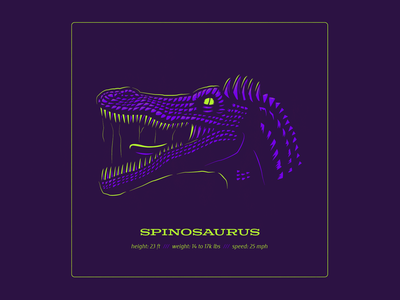 "Dino Series: ""Gator"" spinosaurus dinosaurs logo typography drawing vector branding illustration"