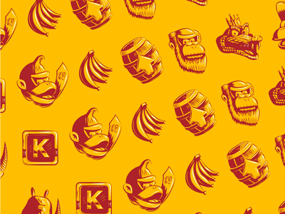 Donkey Kong Country Wrapping Paper Illustrations vector donkey kong video games snes donkey kong country branding illustration