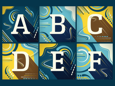36 Days of Type 2021 -- A through F logo lettering ui ux alphabet texture drawing typography type 36 days of type lettering 36 days of type branding vector illustration