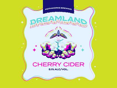 Magical Moth Week Day 3 -- Dreamland Cherry Cider trippy hands moths beer label ux ui design logo typography drawing branding vector illustration