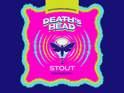 Magical Moth Week Day 4 -- Death's Head Stout skull deaths head moths icon ux ui design logo typography drawing branding vector illustration