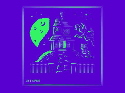 Day 22 | Open moon owl haunted house app ux ui design logo typography drawing branding vector illustration