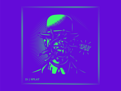 Day 25 | Splat 🍅😵 parody magritte son of man app ui ux design logo typography drawing branding vector illustration