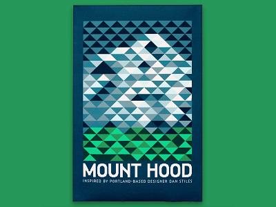 Mount Hood Poster oregon nature patterns triangles mountain illustration