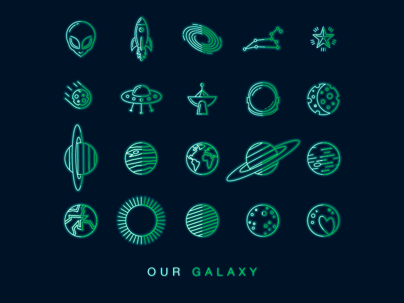 Galaxy Icons neon planets alien space graphics design icons illustrations