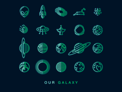 Galaxy Icons stars constellation vector drawing logo branding icon neon planets alien space graphics design icons illustrations