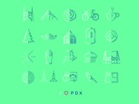 'I (Heart) PDX' Icons Poster