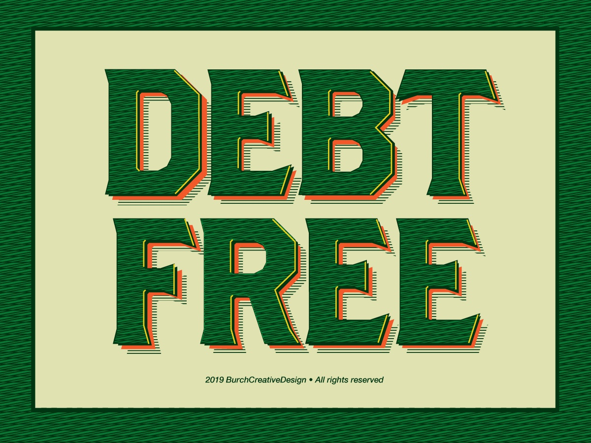 'Debt Free' Sticker 3d block type fonts green typography brothers type money