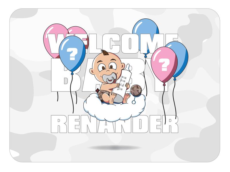 Office Baby Shower Invite Graphic baby bottle vector branding hunting