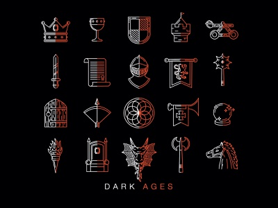 Dark Ages -- Icon Series vector ux branding design illustration icon castle dragon knight middle ages