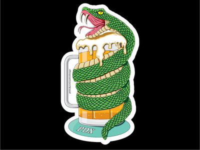 PDX IPA Snake ux vector drawing branding reptiles ipa beer mug illustration snake snakes