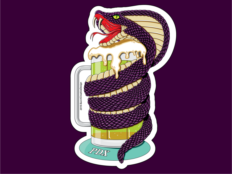 PDX IPA Cobra Sticker mug beer venom illustration cobra snakes