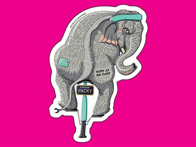 Packy's Last Ride vector drawing logo branding race bike stickers illustration elephant