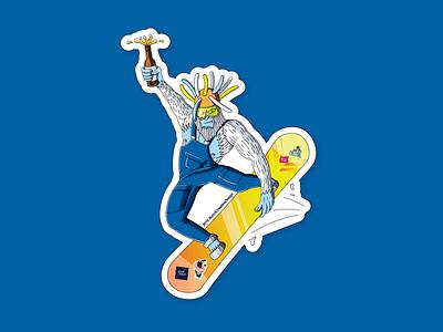 Snowboarding Yeti beer snowboard yeti illustration