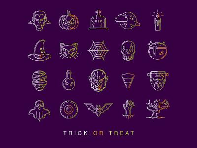 Halloween Icons Poster ghost bat zombie pumpkin spooky candle halloween skull