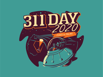 Custom 311 Day Shirt Design ufo space aliens illustration