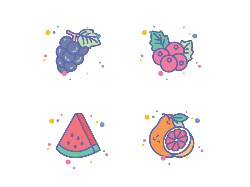 Fruits Icon Set for Jellycons outline line set app ico fruit