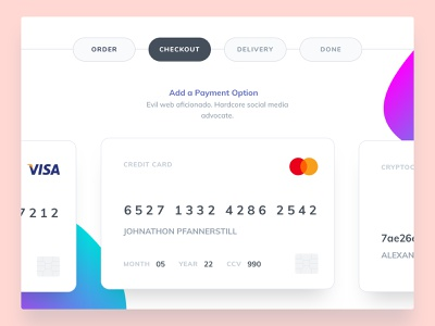 Exploration 004 Minimal Payment Manager interaction interaction design clean bank money payment pay form checkout credentials credit card credit