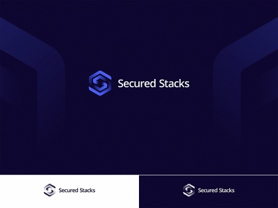 Secured Stacks Logo Design blockchain cyber cybersecurity technology data dark symbol logomark secure shield visual identity gradient stacks secured s logo branding logo design identity modern