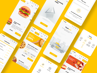 Timo. Food Delivery Service yellow burger car shopping cart food icons iconography pizza typography identity web app icon branding illustration ux ui delivery food delivery service timo