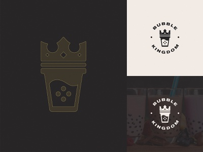 Bubble Kingdom Logo Design food visual identity logotype cup king crown typography brand identity beverage drink vector symbol logo mark logo kingdom branding tea bubble identity